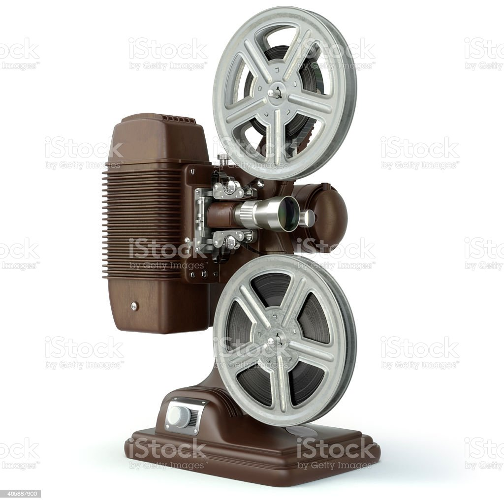 Vintage film movie projector isolated on white. stock photo