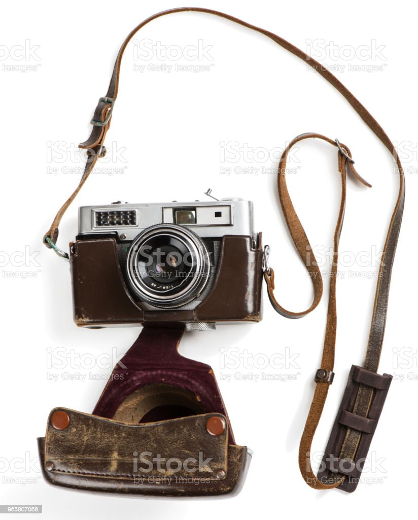Vintage film photo-camera in case - Royalty-free Above Stock Photo