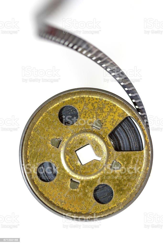 Vintage film spool 8 mm cinema isolated on white stock photo