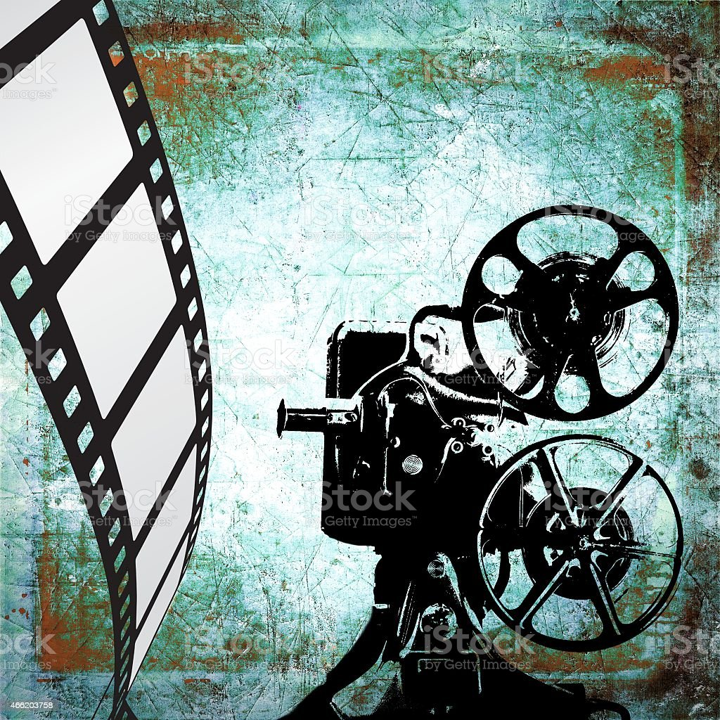 vintage film strip background and old projector stock