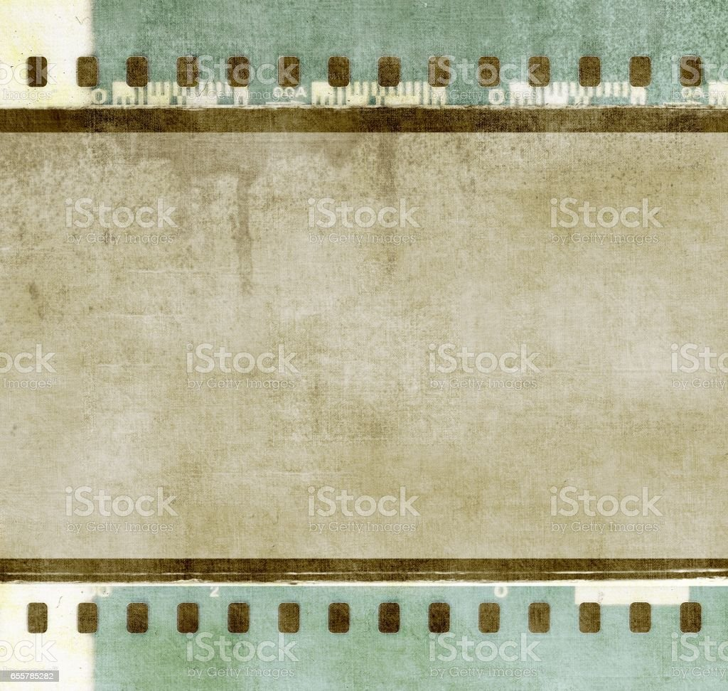 Vintage film strip frame in green and sepia tones colors stock photo