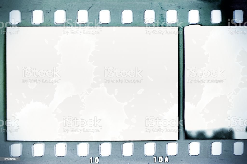 Vintage Film Strip Frame On Old And Damaged Paper Background Blue ...