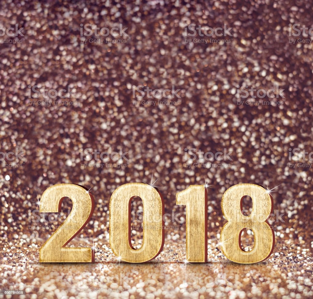 vintage filter tone of happy new year 2018 3d rendering at sparkling glitter background