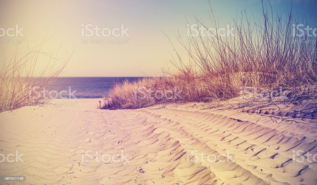 Vintage filtered beach, nature background or banner. stock photo