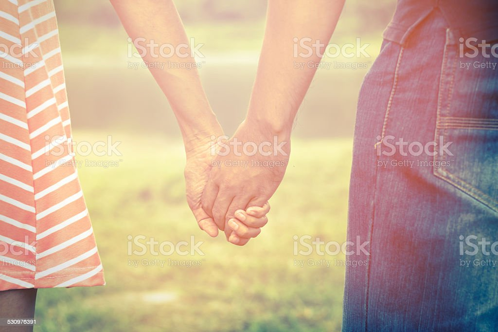 Vintage filtered  of couple relationship. stock photo