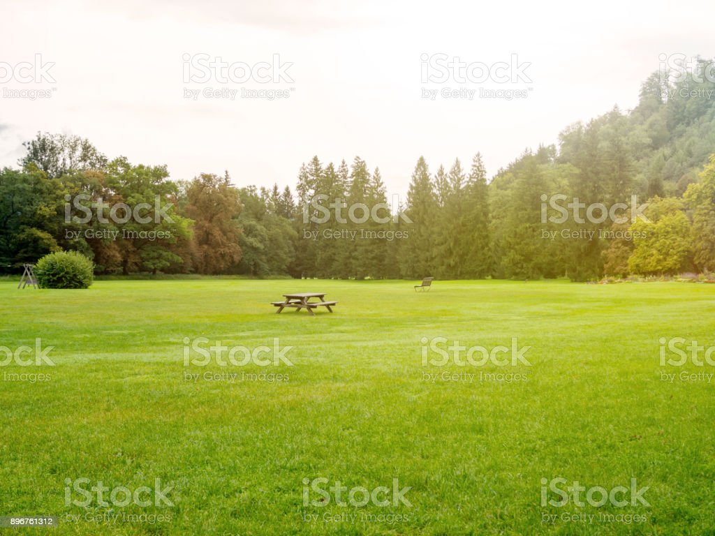 Vintage filtered on nature park with table bench stock photo