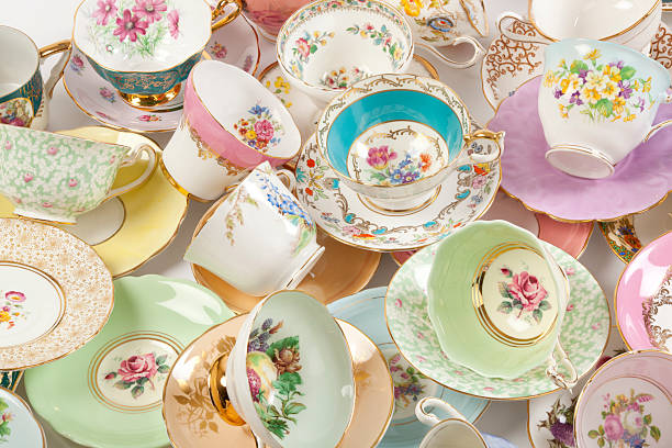 Vintage fine bone china tea cups stock photo