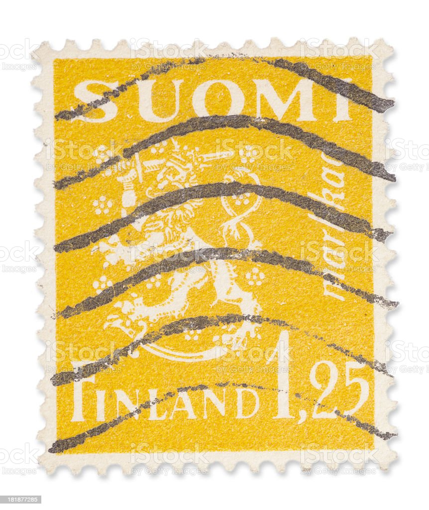 Vintage Finnish stamp - Coat of arms royalty-free stock photo