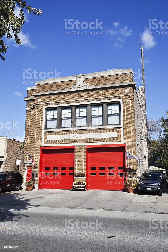 Vintage Fire Station Chicago North Side royalty-free stock photo