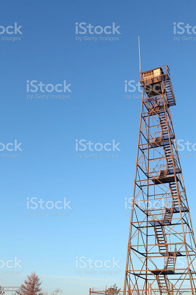 Vintage Fire Tower Blue Sky royalty-free stock photo