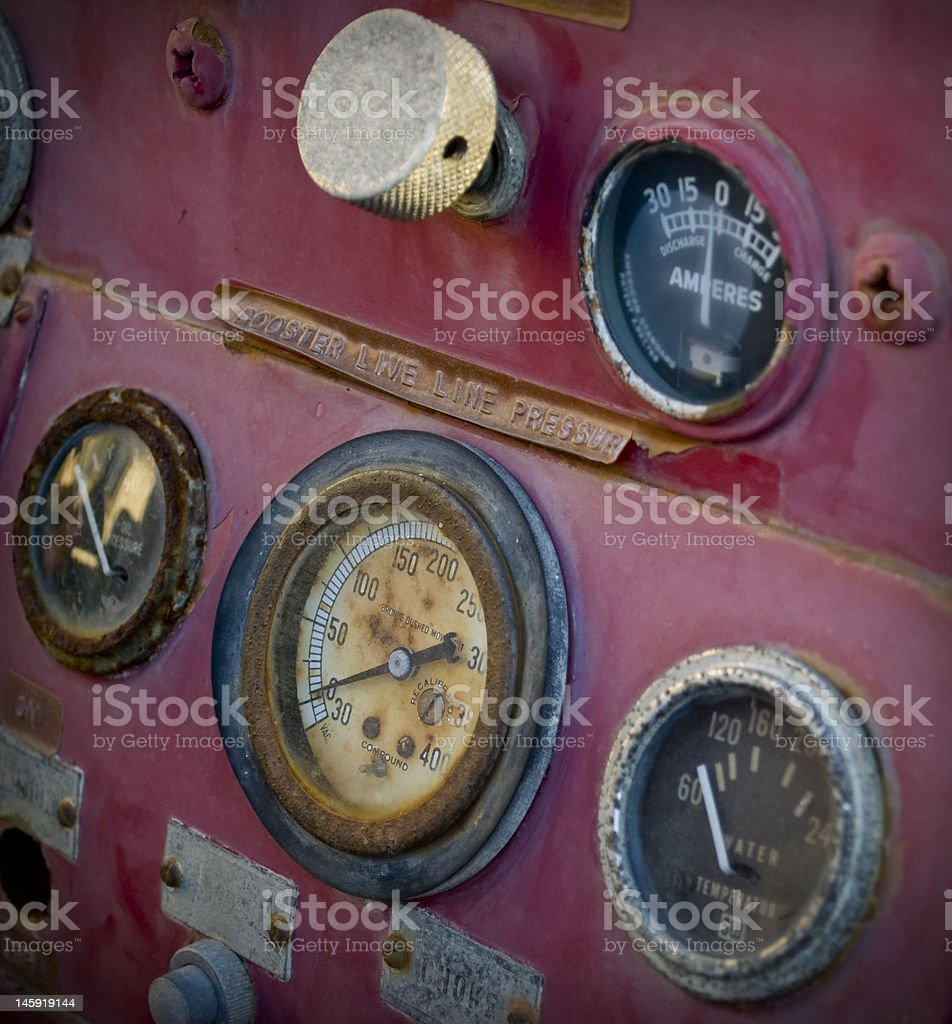 Vintage Fire Truck Gauges royalty-free stock photo