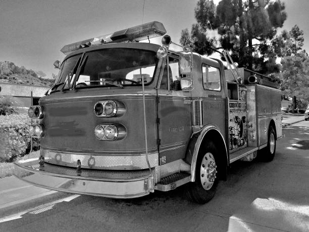 vintage fire truck black and white rescue samuel howell stock pictures, royalty-free photos & images