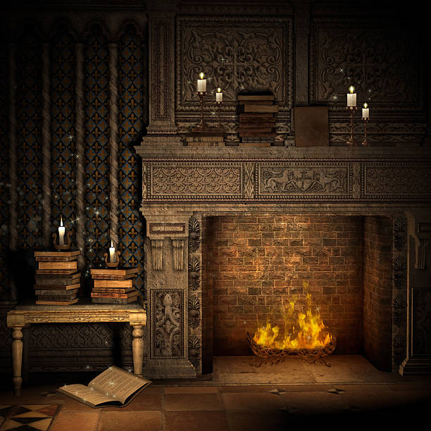 Vintage fireplace with books stock photo