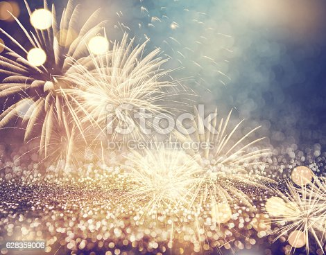 istock Vintage fireworks at New Year 628359006