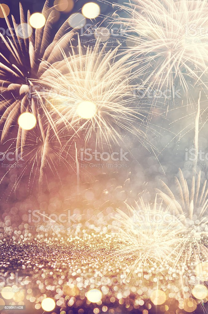Vintage fireworks at New Year - foto de stock