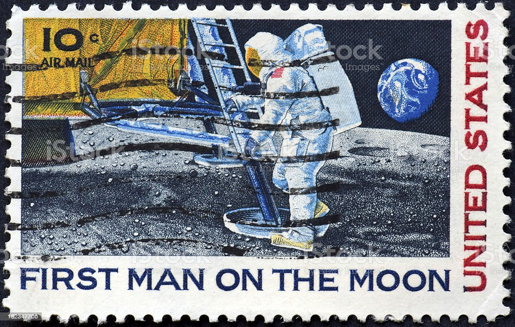 Vintage First man on the moon stamp, ten cents stock photo