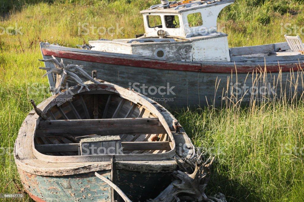 Vintage Fishing Boats Wooden Hulls stock photo