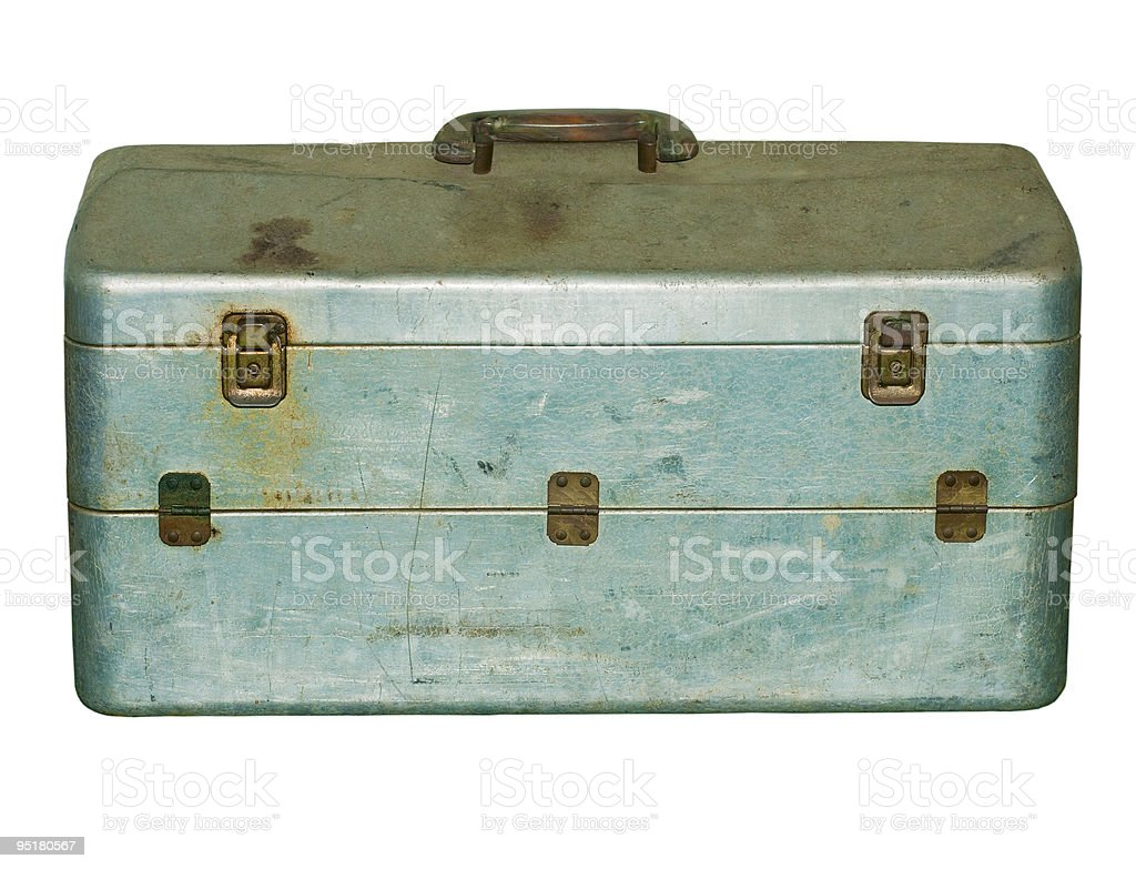 Vintage Fishing box stock photo