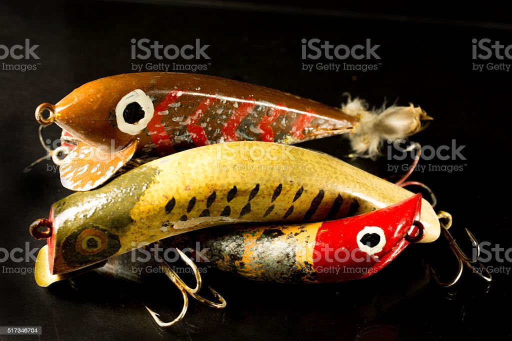 Vintage Fishing Lure Homemade Carved From Wood Stock Photo