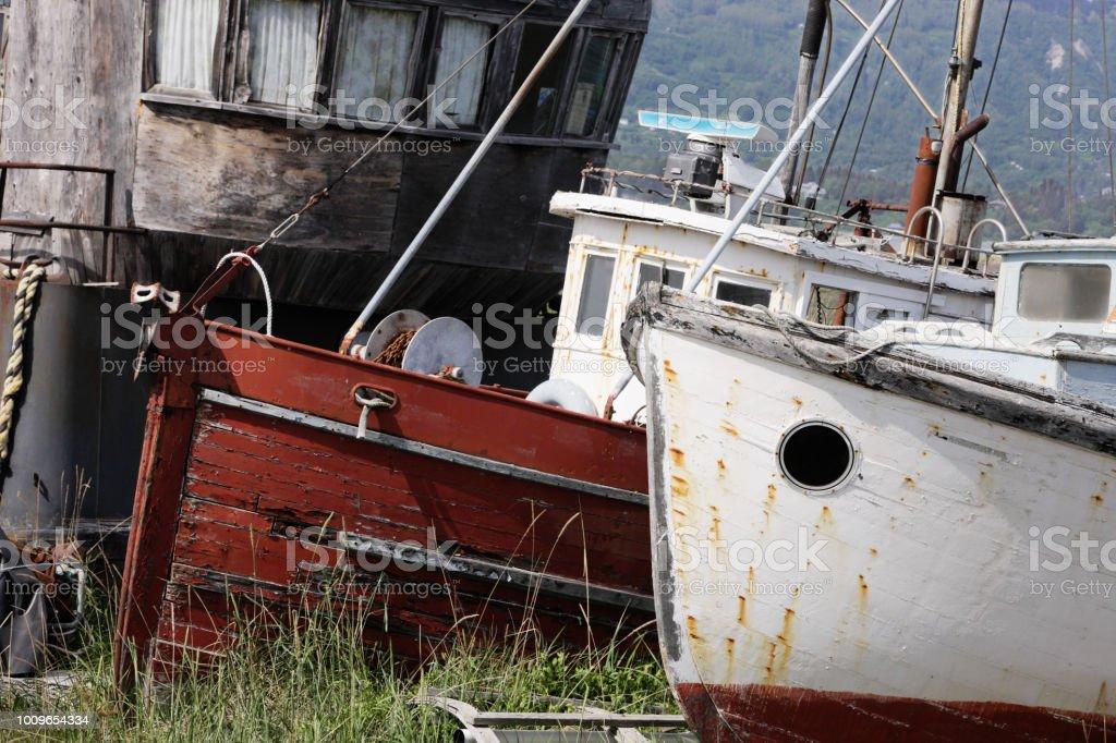 Vintage Fishing Trawler Boats Dry Dock stock photo