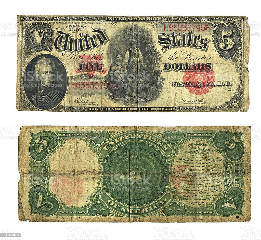 Vintage Five Dollar Bill in US Currency stock photo