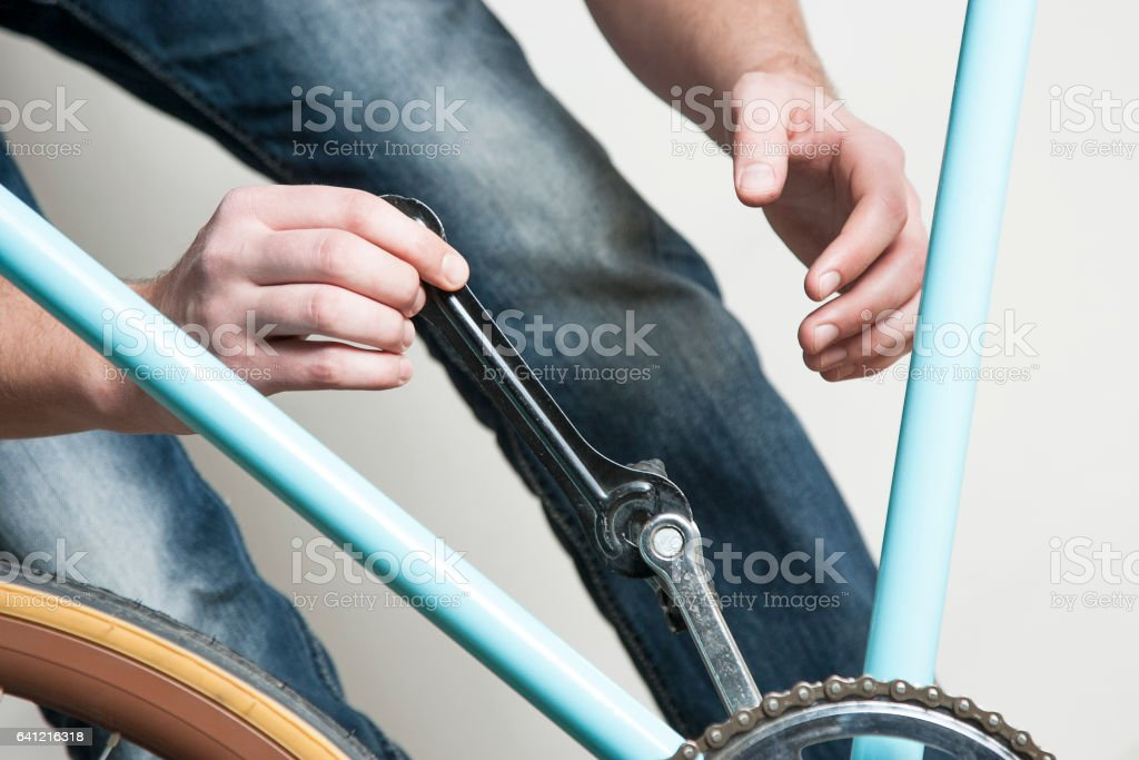 Vintage fixed gear bicycle repair stock photo