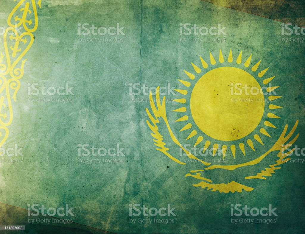Vintage Flag - Kazakhstan royalty-free stock photo