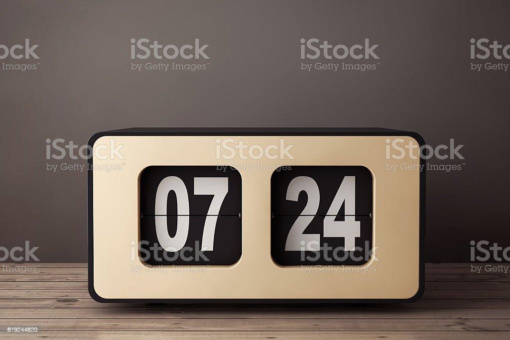 Vintage Flip Clock. 3d Rendering stock photo