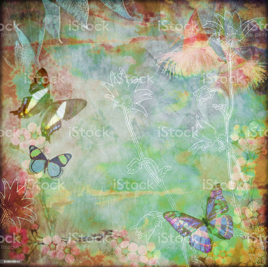 Vintage floral butterfly background stock photo