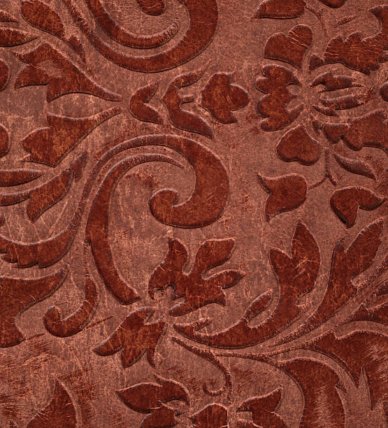 vintage floral pattern on leather stock photo