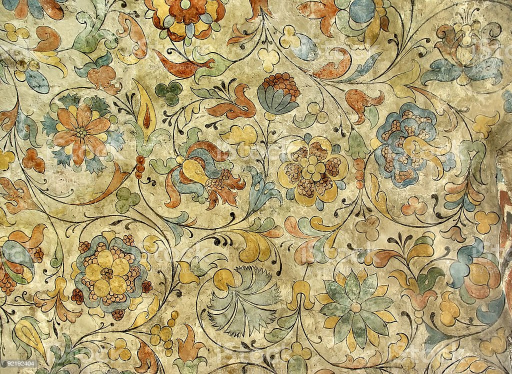 A vintage floral patterned ceiling of a church stock photo