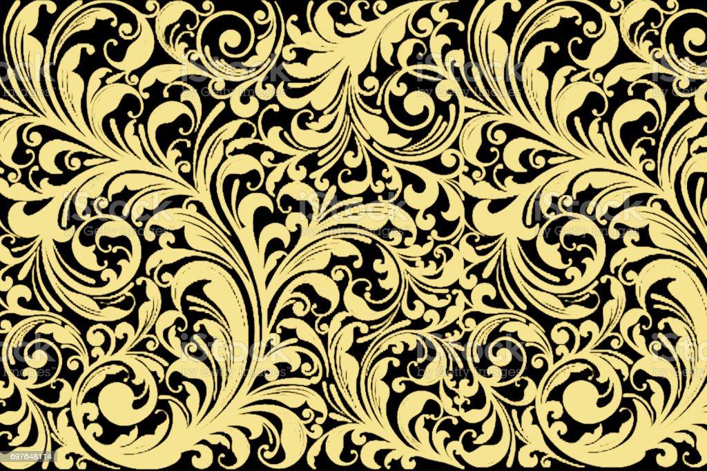 ヴィンテージ花柄シームレスな木靴。古典的なバロック壁紙 ブラックとゴールド、イエローします。 ストックフォト