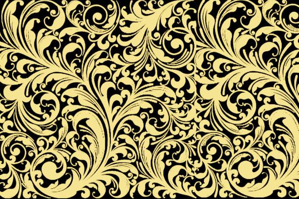 vintage floral patten sans soudure. classique baroque fond d'écran.  noir et or, jaune - damas en matière textile photos et images de collection