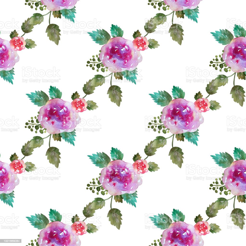 Vintage floral seamless pattern with pink rose flowers and leaf. Print for textile wallpaper endless. Hand-drawn watercolor elements. Beauty bouquets.