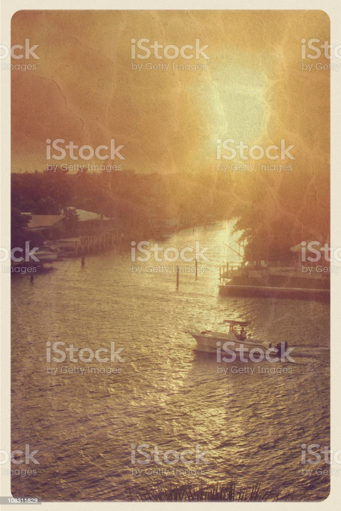 Vintage Florida Sunset Postcard stock photo