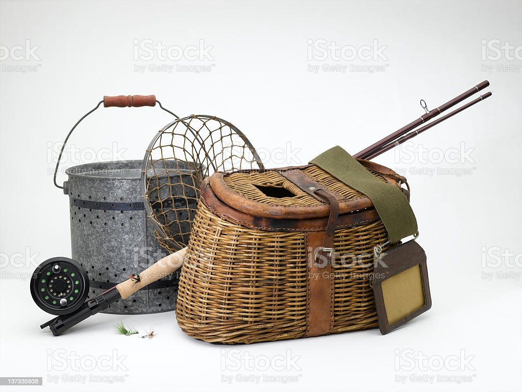 Vintage Fly Fishing stock photo