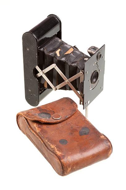 Vintage Folding Camera with Leather Case stock photo