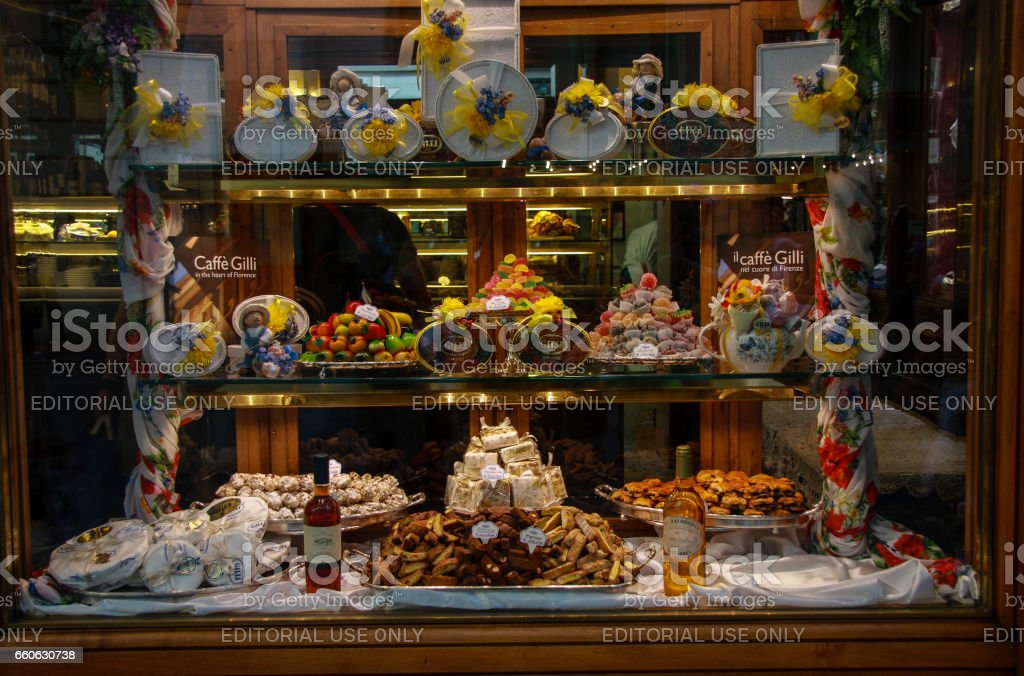 Vintage food showcase of Italian cafe gelato Caffe Gilli in Florence, Italy on September 8, 2008. stock photo
