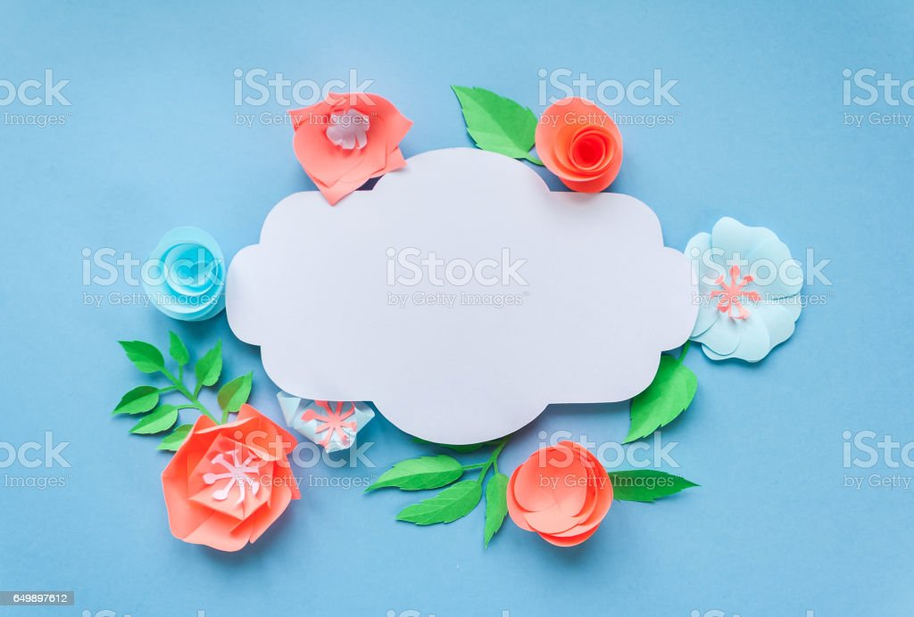 Vintage Frame With Color Paper Flowers On The Blue Background Flat