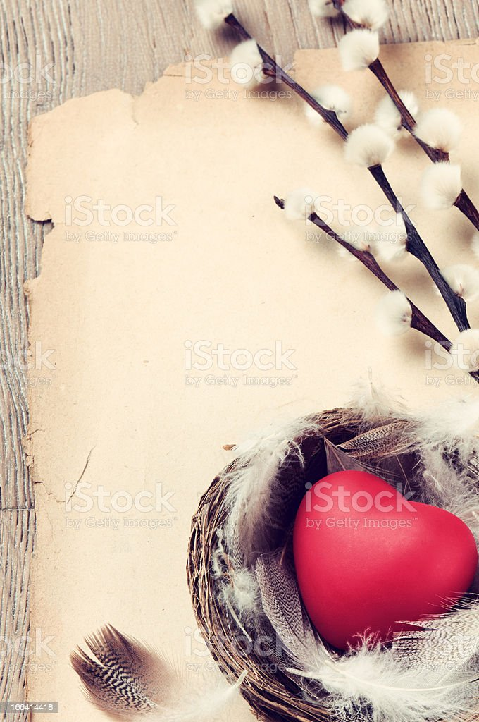 Vintage frame with red heart royalty-free stock photo