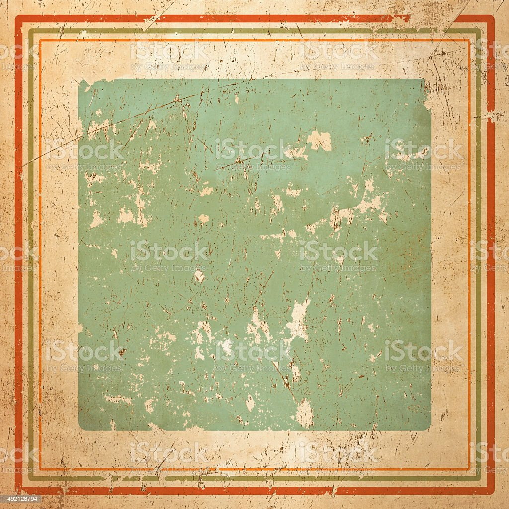Vintage framed background in warm Cuban colours, grunge painted texture stock photo