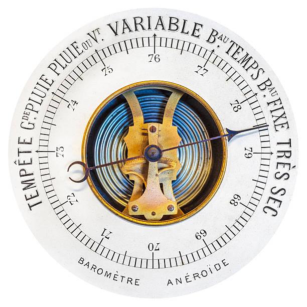 vintage french barometer isolated on white - barometer bildbanksfoton och bilder