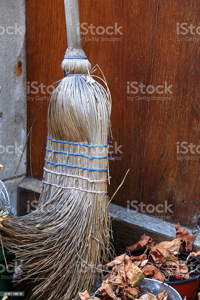 Vintage French besom broom made from hazel wood stock photo