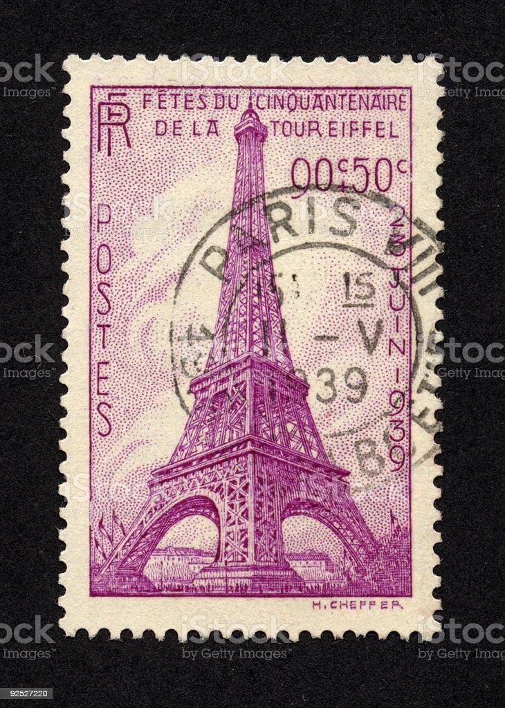 Vintage French Stamp 1939, Ephemera. stock photo