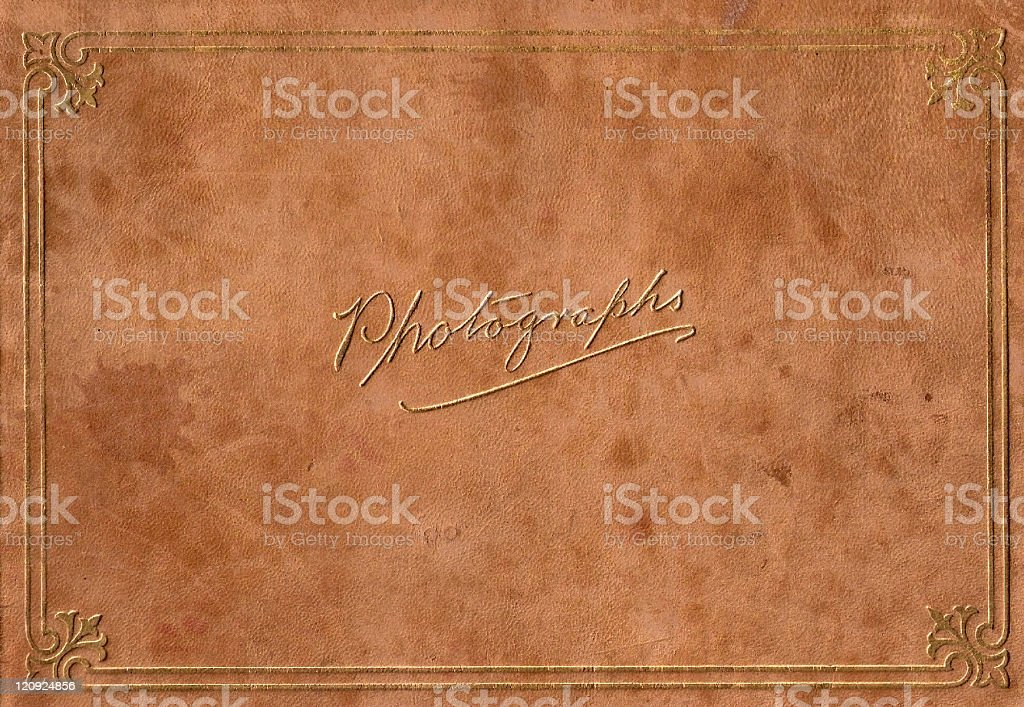 Vintage Full Size Leeather Embossed in Gold Photograph Album stock photo