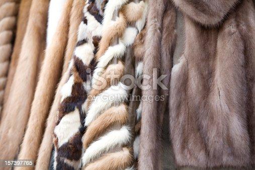 Old fur coats for sale in a London flea market