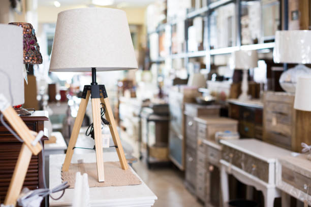 vintage furniture and home design objects in shop - furniture shopping stock photos and pictures