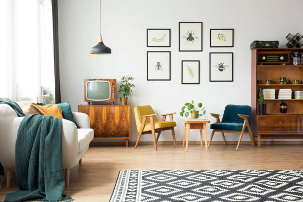vintage furniture in a loft - retro decor stock photos and pictures