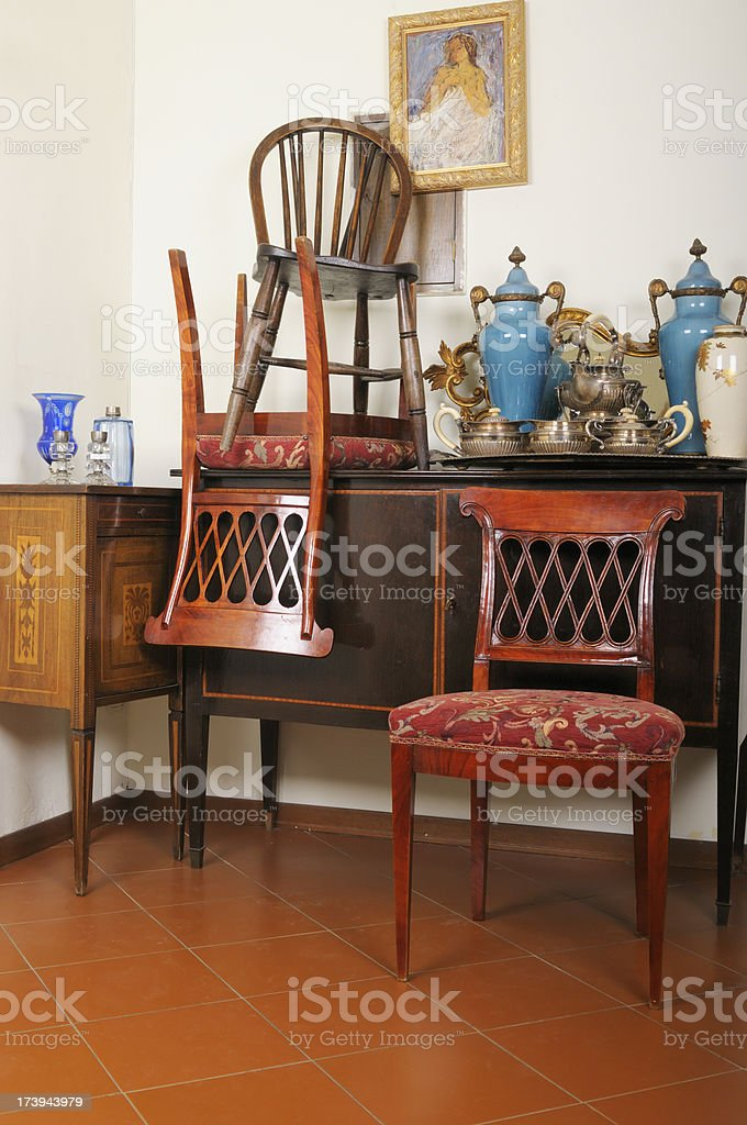 Vintage Furniture in Antique Shop stock photo