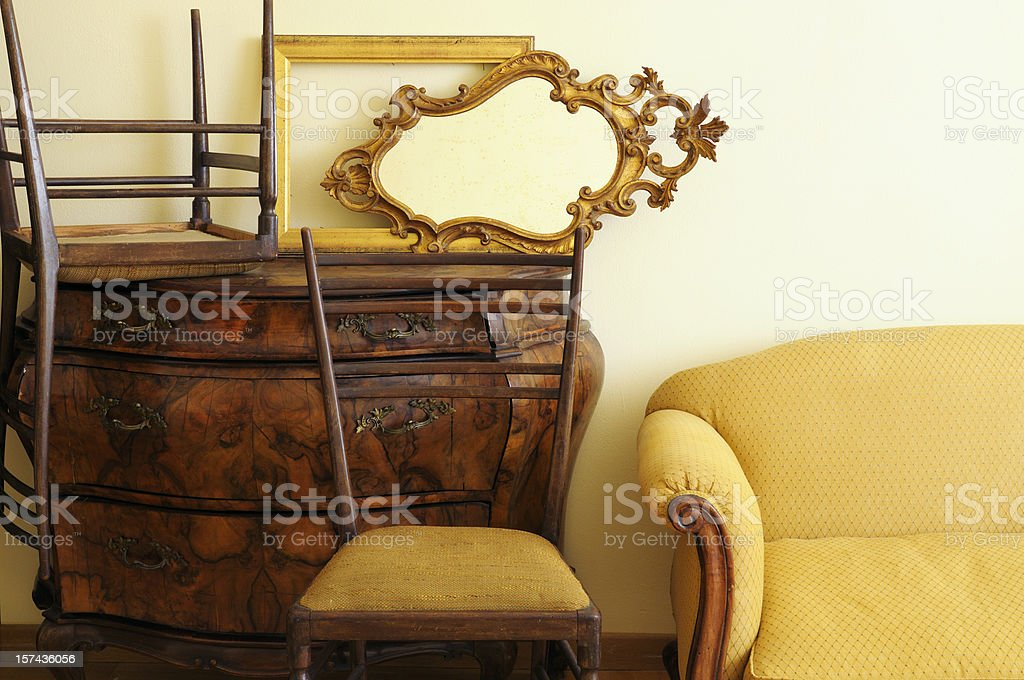 Vintage Furniture inside Antique Shop stock photo